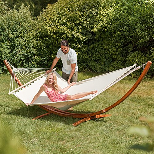 TecTake XXL WOODEN DOUBLE HAMMOCK WITH SOLID FRAME STAND | 415x150x124cm | bed size: 205x150cm | max load: 200kg