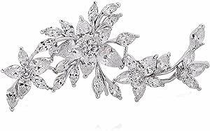 Gulicx Spilla placcata in oro bianco con zirconi, ornamenti floreali, spilla e fermaglio da donna per matrimonio.