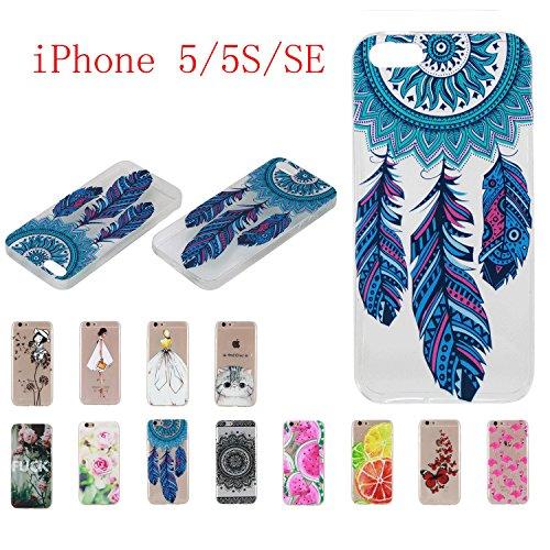 Qiaogle Telefon Case - Weiche TPU Case Silikon Schutzhülle Cover für Apple iPhone 5 / 5G / 5S / 5SE (4.0 Zoll) - HX51 / Ostrich + Flower HX16 / Flöte Löwenzahn Mädchen