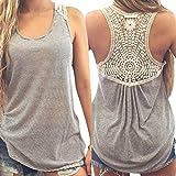 Amlaiworld Tops Mujer, Chaleco T del cordón de la Camisa del Verano Las Camisetas sin Mangas de la Blusa Ocasional (XL)