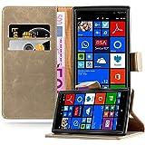Cadorabo - Funda Estilo Book Lujo para Nokia Lumia 830 con Tarjetero y Función de Suporte - Etui Case Cover Carcasa Caja Protección en MARRÓN-CAPUCHINO
