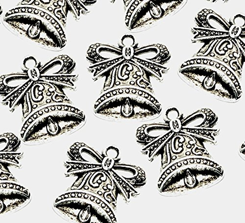 10 Decorative Bell Christmas Wedding Charms (Antique Silver Plated) - (Ref:3E8) + Free! Jump Ring ATTACHMENTS ~ Ideal for Jewellery Making & Card Making Embellishments -