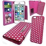 """Stylebitz / Etui portefeuille avec rabat magnétique détachable pour Apple iPhone 5S / 5, motif """"polka"""", livré avec chiffon de nettoyage (rose & blanc)"""