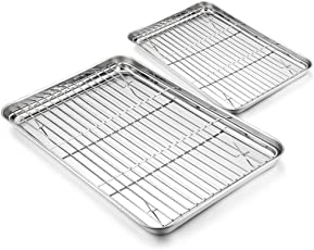HaWare Backblech-Set – 4 Stück (2 Schalen + 2 Gestell), Edelstahl Backblech Toaster Pfanne Cookie mit Kühlrost – gesund & ungiftig, Spiegel-Finish & spülmaschinenfest