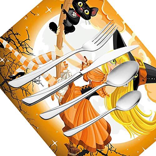 30-teiliges Besteckset, Halloween-Zwiebeln Süße sexy Hexe auf einem Besen mit Babykätzchen und verschwommenem Mondschein Verliebt in eine Hexe Motivdruck Geschirr Edelstahl Besteck Geschirrset für 6 P