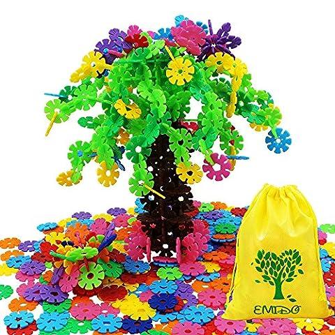 EMIDO Spielzeug Bausteine 500 Stück Interlocking Plastic Disc Set Lernspielzeug Gehirn Flakes - Foster Kinder Kreativität, Fantasie, Farberkennung und Teamwork, Kleinkinder ab 3 Jahre