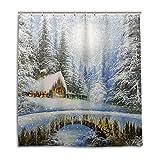 ALAZA Winter-Landschaftsmalerei Weihnachten Duschvorhang 72 x 72 inch, schimmelresistent und Wasserdicht Polyester Dekoration Badezimmer-Vorhang