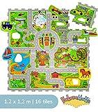Urlaub Puzzlematte für Kinder 1,2x1,2m | 16 Schaumstoffplatten mit Straßen und Fahrzeuge in einer Aufbewahrungstasche | +20% dickere Spielmatte | Schadstofffrei, Geruchlos, TÜV Formamid geprüft