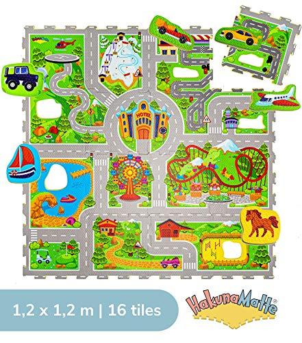 Urlaub Puzzlematte für Kinder 1,2x1,2m | 16 Schaumstoffplatten mit Straßen und Fahrzeuge in einer Aufbewahrungstasche | +20{2ecd89d76ab71b38574aafcc4897400fd8f099771a0250083649030519e061da} dickere Spielmatte | Schadstofffrei, Geruchlos, TÜV Formamid geprüft