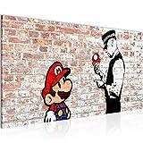 Bilder Mario and Cop by Banksy Streetart Wandbild Vlies - Leinwand Bild XXL Format Wandbilder Wohnzimmer Wohnung Deko Kunstdrucke Braun 1 Teilig - MADE IN GERMANY - Fertig zum Aufhängen 006512b