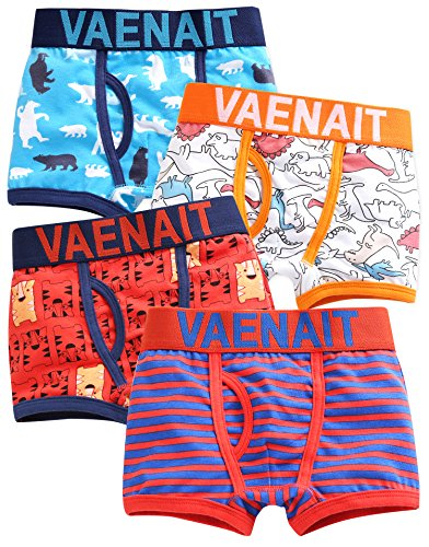 Vaenait baby 4 Pack Unterhosen Boxer - Dancing Bear/Jurassic/Tiger Brother/Fire Truck M -