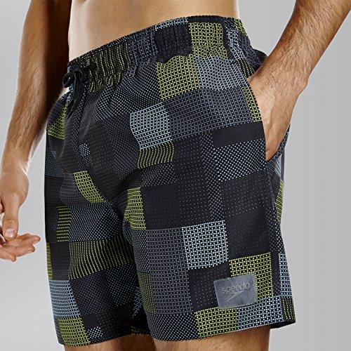 Speedo bedruckte Badeshorts für Herren, Freizeit Black/Usa Charcoal/Lime Punch