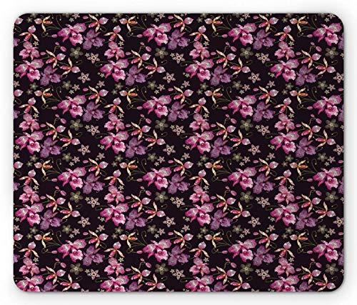 Orchideen-Mausunterlage, Retro wilde Blumen-surreales Paradies-Blumenblatt-klassischer Motiv-Weinlese-Druck, Standardgrößen-Rechteck-rutschfestes GummiMousepad, schwarze Koralle und Rosa,Gummimatte 11 -