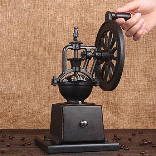WAYERTY Manuelle kaffeemühle, Holz Gusseisen-Rad Ultra-speichern Retro Kaffeebohne mühle manuell Haushalt Handkaffeemühle-Dunkelbraun