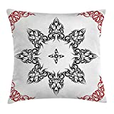Kaixin J Tribal Decor Throw Pillow Cushion Cover, Ethnic Tattoo Circular Vector Art Leaves Like Frame Modern Print, Decorative Square Accent Pillow Case, 18 X 18 inches, Black White and Ruby