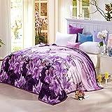 shinemoon Winter Warm Home Bett Sofa Fleece Decken und Überwürfe Bezüge für Kinder Erwachsene Reise Snuggle Überwurf über, lila Lily Muster, 100 % Polyester, Purple Lily, 180x200cm