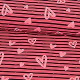 Stoffe Werning Baumwolljersey Herzen beflockt dunkel pink