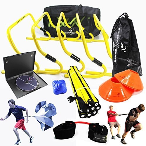 y Training Kit with Free Carry Bag and DVD | Agility Hurdles, Cones, Speed Ladder, Reaction Ball, Lateral Resistor | Football, Soccer, Basketball, Volleyball, Rugby, Hockey, MMA by Sport Speed (Ladder Ball Bälle)