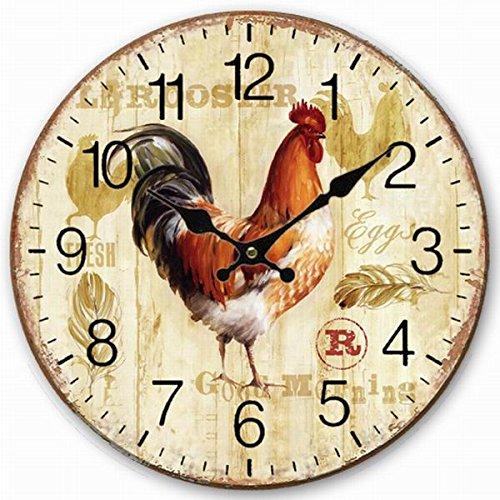 Telisha Retro Design Große Uhr Hühner Hahn Home Dekorative Wanduhr Holz 34CM 13.4