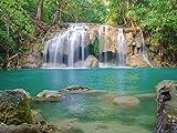 Artland Qualitätsbilder I Glasbilder Deko Glas Bilder 80 x 60 cm Landschaften Gewässer Wasserfall Foto Grün A9DM Wald Erawan Waterfall National Park