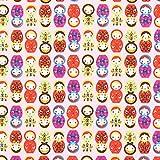 Fabulous Fabrics Baumwollstoff Matroschka – rosa — Meterware ab 0,5m — zum Nähen von Hosen, Tops und Shirts und Kinderbekleidung