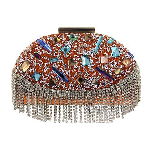 Frauen-Abend-Paket Luxus-Kristall-Diamant-Bankett Tasche Orange