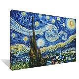 Asdam Art-(100% pintado a mano 3D)Azul noche estrellada por Vincent Van Gogh óleos sobre lienzo...