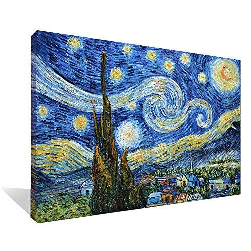 Asdam Art-(100% handgemalten 3d) blau sternennacht von vincent van gogh arbeit abstrakt formuliert, modernes haus wand ölgemälde kunst für wohn - und schlafzimmer, wohnzimmer (24x36inch) (Haus-wand-kunst)