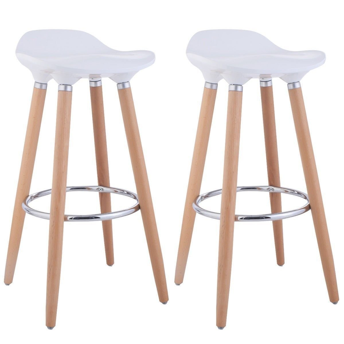 Breakfast Kitchen Make Up Bar Chair Stools Modern Retro Wooden Legs ...