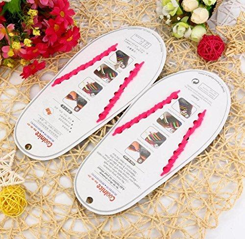 Silicone Laço Amcool Todos 16 Sapato Unisex Rosa De Caber Pcs Set Sem Elástico Os Laços Tênis TYxTS8