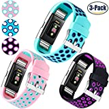 For Fitbit Charge 2 Strap, HUMENN [Dual Colour] Fitbit Strap Charge 2 Soft Adjustable Replacement Sport Band for Fitbit Charge2 Fitness Wristband Large, Black Purple, Teal Blue and Pink Teal