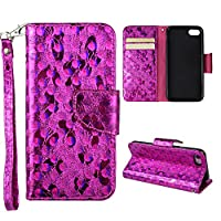 iPhone 7 Wallet Case, iPhone 7 Cover Case, Rosa Schleife Sparkle Bling Glitter PU Leather Butterfly Painting Pattern Embossed Floral Flip Folio Magnetic Snap Leather Phone Case Protective Case Cover Shell Skin for iPhone 7 (4.7