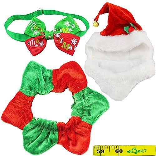 Wiz BBQT Cute Cat Dog Pet Weihnachten Santa Hat mit Glocke und Hexagramm Halsband Kostüm und Halsband Fliege für Kleine Katzen Hunde Haustiere Kitten Puppy