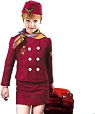 Fancydresswale Premium Community Helper Theme Costume for Fancy Dress Competitions, Role Play and School Functions for Kids (Air Hostess, 3-8 Years)