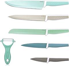 Navaris Messer Set 6-teilig inkl. Schäler - 5X Edelstahl Küchenmesser und 1x Keramik Gemüseschäler - Fleischmesser Brotmesser - Messerset Bunt