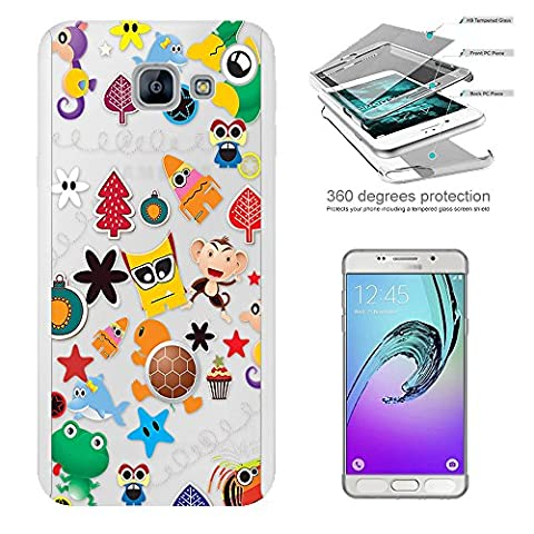 c00348 - Cute Cartoon Multi Art Animal Fish Monkey Frog Funny Faces Design Samsung Galaxy A5 (2017) SM-A520F Complete 360° Degree protection Coque Avant & Arrière Protection +Tempered Glass Screen