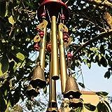 MIRX Windspiel, Bronze, 4 Metall-Zylinder, 5 Glocken, 60cm lang, für Garten, Ornament für den Außenbereich (Bronze Windspiel)