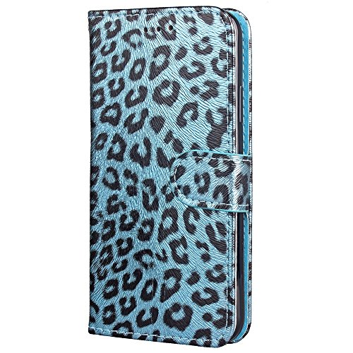 JIALUN-étui pour téléphone Housse horizontale Flip Stand Leopard Texture Housse en cuir PU Pretection pleine corps Housse TPU avec embouts pour cartes et fermeture magnétique pour iPhone 8 ( Color : R Blue