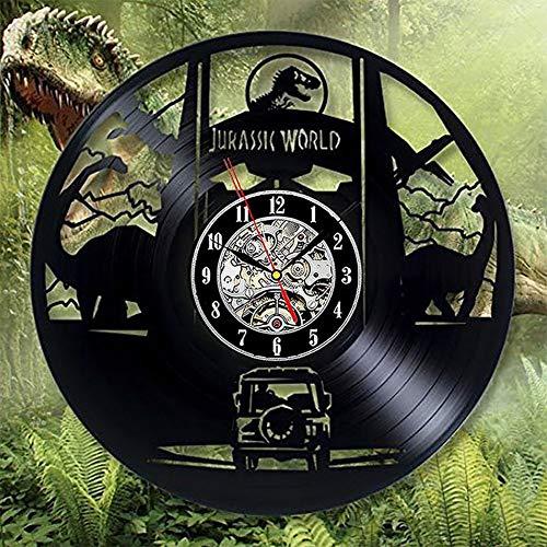 JUHUA Wanduhr aus Vinyl Schallplattenuhr,Jurassic Park Retro-Uhr Raum Home Wand-Dekoration Wanduhr Ohne Ticken