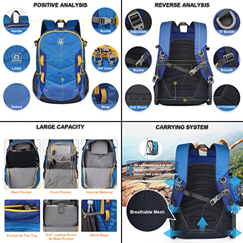 XSY 30L Zaino da Trekking Outdoor Donna e Uomo per Alpinismo Arrampicata Equitazione ad Alta Capacità borsa da Viaggio Multifunzione Blu Verde