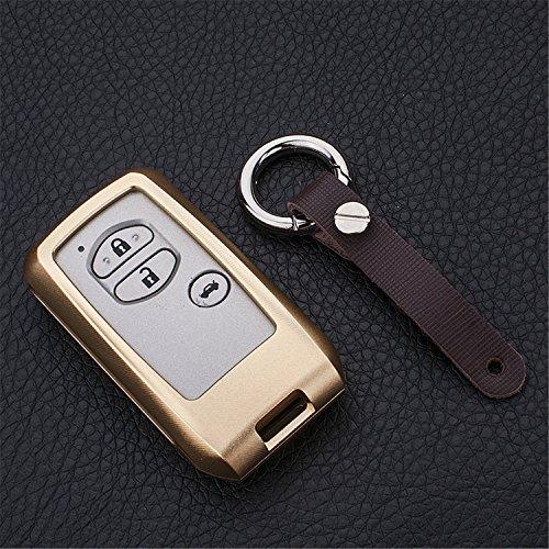 [m. jvisun] Schlüsselanhänger Toyota Schlüsselanhänger Schlüssel, Fernbedienung, passt für Toyota Crown Toyota Land Cruiser Smart Keyless-Start Stop Motor Auto-Schlüssel, Flugzeug Aluminium Spiegel Rückseite Schlüsselanhänger Schutz Hülle, gold