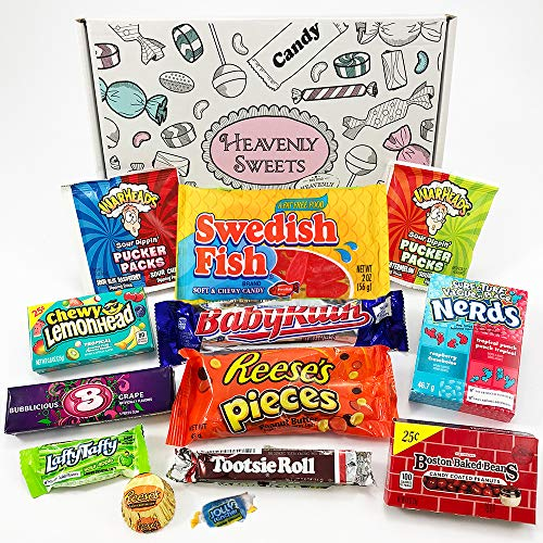 Kleiner American Candy Geschenkkorb | Retro Süßigkeiten und Schokolade Geschenkkorb | Auswahl beinhaltet Reeses, Nerds, Baby Ruth, Warheads | 13 Produkte in einer tollen retro Geschenkebox