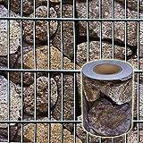 nxtbuy PVC Zaun Sichtschutzstreifen 35 m Rolle Wasserfest, UV-beständig & reflexionsarm inkl. Befestigungsclips Gartensichtschutz für Zäune, Farbe:Steinoptik