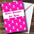 Pink Skull & Crossbones Card Personalised Birthday Card