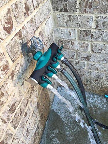 Wasserdurchfluss regulier und absperrbar inklusive 2 x Hahnst/ück und 4 x Gummi-Unterlegscheiben optimaler Wasserhahn Verteiler zum praktischen Einsatz im Garten Norjews 2-Wege-Verteiler