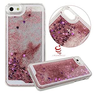 iPhone 6s Liquid infused with flowing Glitter Case,Creative and unique Design Quicksand Flowing Liquid Dynamic Floating Luxury Bling Glitter Sparkle Stars Hard Case Back Cover for iPhone 6s - Pink