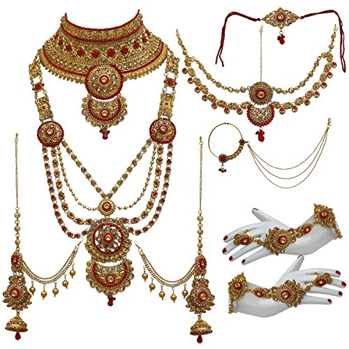 Lucky Jewellery Bridal Golden Red Color Alloy Gold Plated Wedding Jewellery Set...