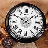Beloved clock Wanduhr Modern Neu Für Jeden Raum präzise Stündlich Verkleidung Grenze Echte 16-Zoll Mode Kreativ Wohnzimmer Home Wand, 16 Zoll, cremig weiß Schwarz