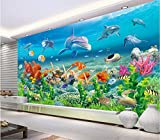 Chan-Mei 3D Fototapete Delfine Coral Sea Pavillon Einrichtung Benutzerdefinierter Wandbilder 3D-Wandbilder Tapeten Für Wohnzimmer Wände 3D Malerei Hintergrundbild Tapete Fresko Wandmalerei 150cmX100cm