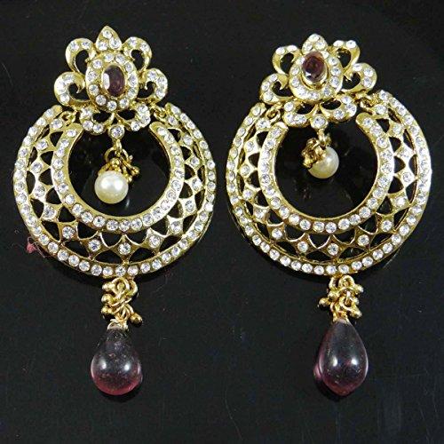 les femmes ethniques Dangle Boucles d'oreilles bijoux traditionnels boucle d'oreille pourpre ensemble cadeau pour elle purple-17
